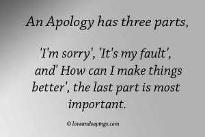 An Apology has Three parts