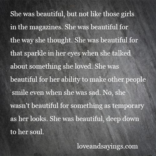 She was beautiful. But Not Like