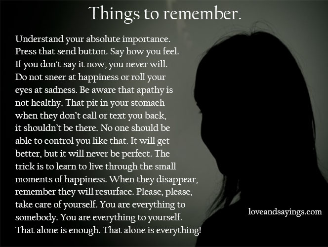 Things To Remember.
