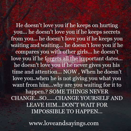 He Doesn T Love You If He Keeps On Hurting You Whether you're saying i love you in words or emojis, these. doesn t love you if he keeps on hurting