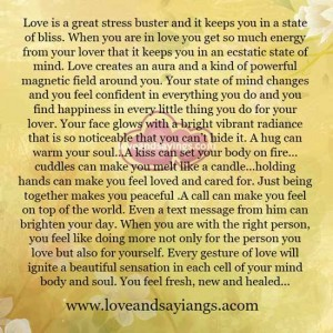 When you are in love you get so much energy from your lover