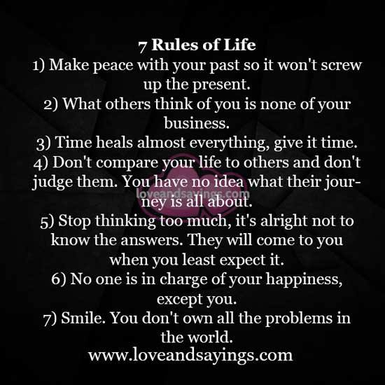 7 Rules Of Life Quote: Love And Sayings