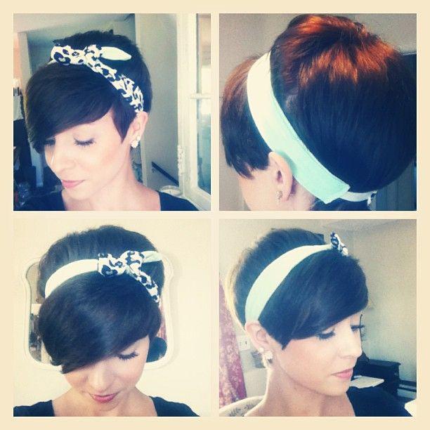 pixie and a headband haircut   love and sayings