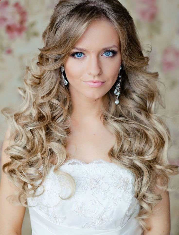 Simple Long Bridal Hairstyles For Curly Hair Love And