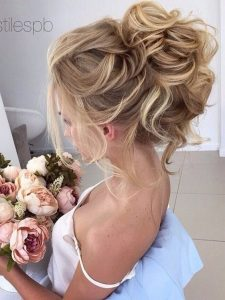 Pinned High Curly Updo Hair Styles for Bridal