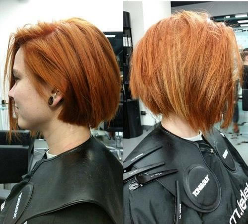 Chunky easy-care bright copper bob on thick hair